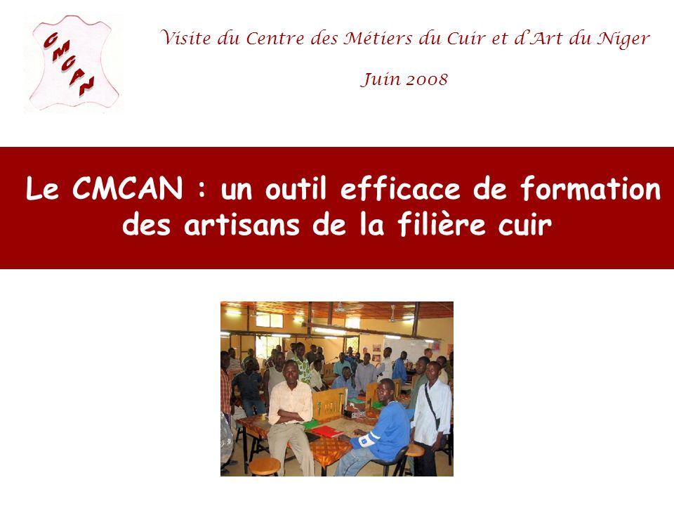 Le CMCAN : un outil efficace de formation des artisans de la filière cuir Visite du Centre des Métiers du Cuir et dArt du Niger Juin 2008