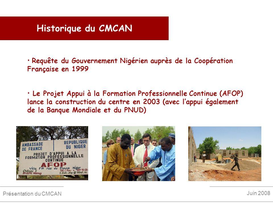 Historique du CMCAN Requête du Gouvernement Nigérien auprès de la Coopération Française en 1999 Le Projet Appui à la Formation Professionnelle Continu
