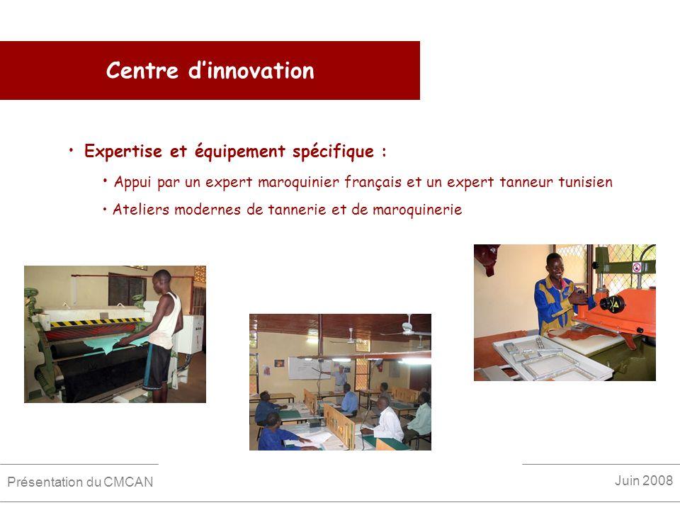 Centre dinnovation Expertise et équipement spécifique : Appui par un expert maroquinier français et un expert tanneur tunisien Ateliers modernes de ta