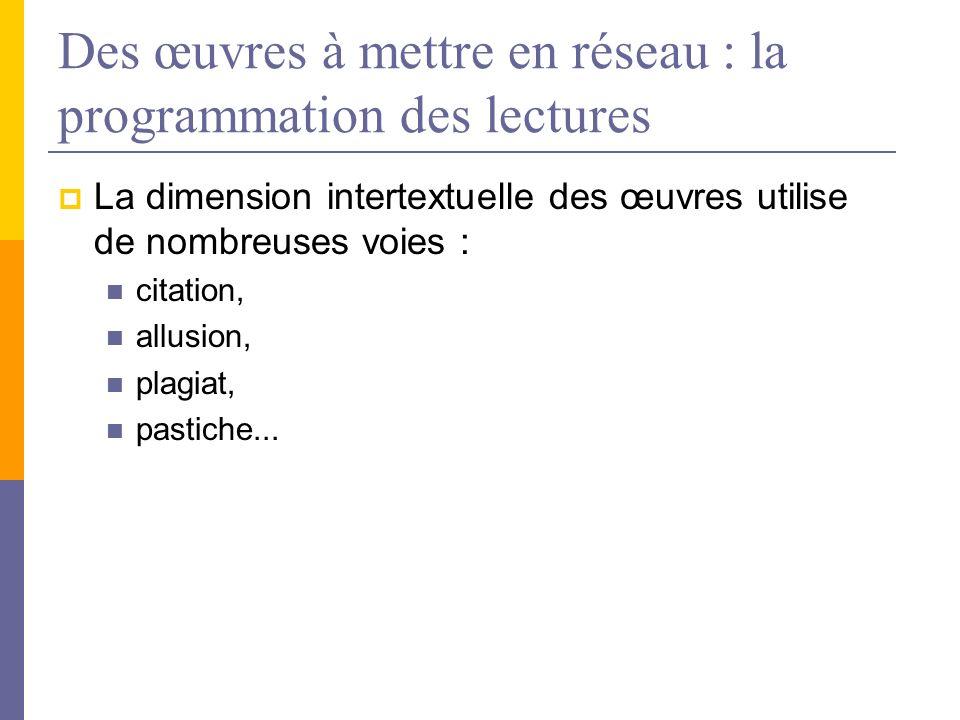 Des œuvres à mettre en réseau : la programmation des lectures La dimension intertextuelle des œuvres utilise de nombreuses voies : citation, allusion,