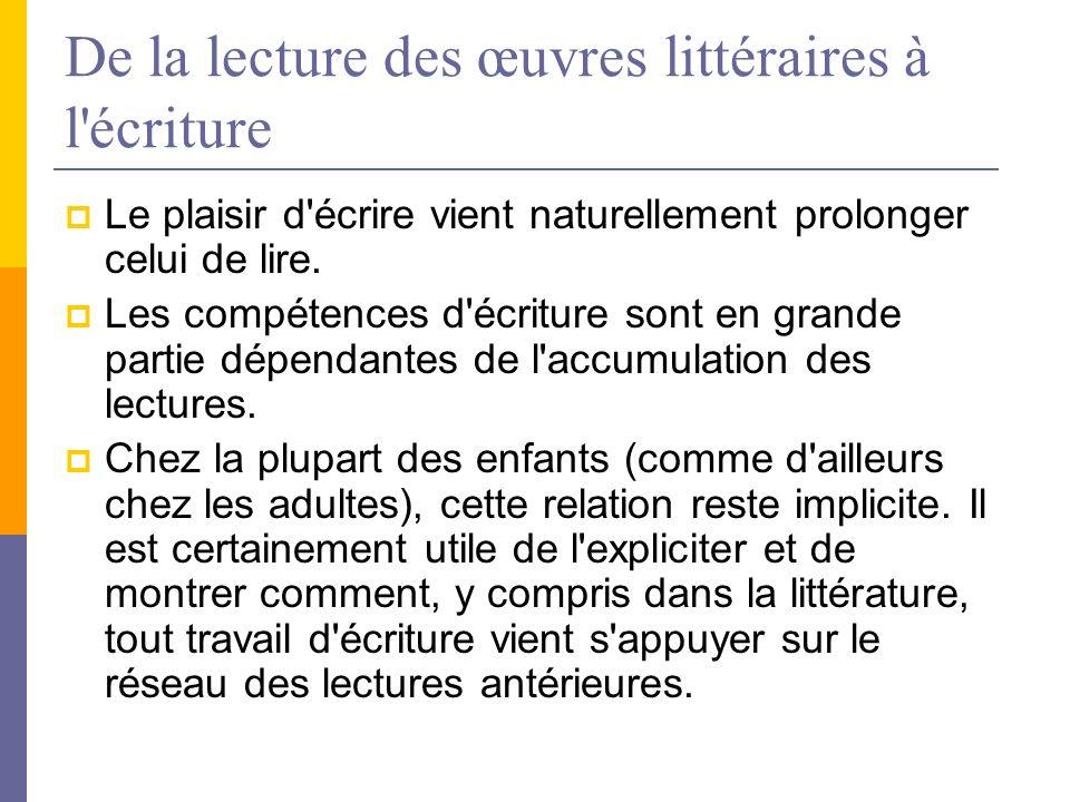 De la lecture des œuvres littéraires à l écriture Le plaisir d écrire vient naturellement prolonger celui de lire.