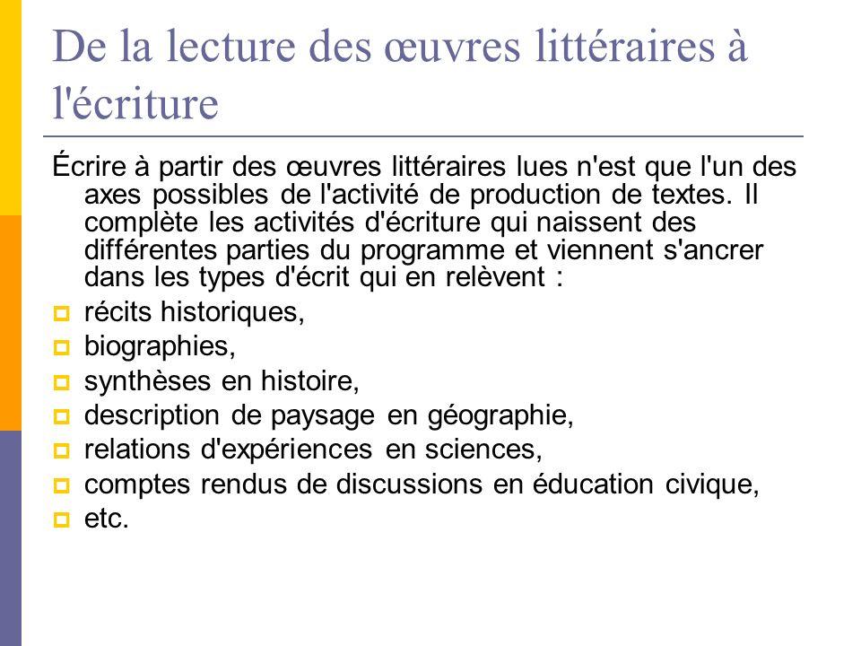 De la lecture des œuvres littéraires à l écriture Écrire à partir des œuvres littéraires lues n est que l un des axes possibles de l activité de production de textes.