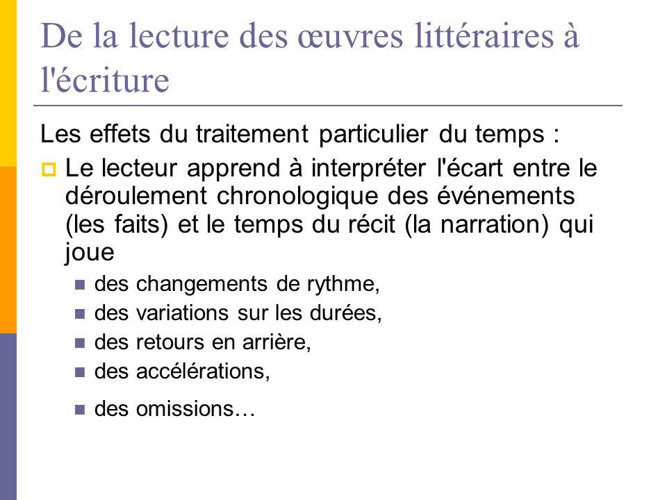 De la lecture des œuvres littéraires à l'écriture Les effets du traitement particulier du temps : Le lecteur apprend à interpréter l'écart entre le dé