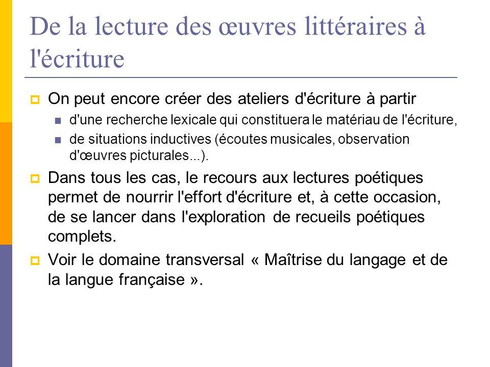 De la lecture des œuvres littéraires à l'écriture On peut encore créer des ateliers d'écriture à partir d'une recherche lexicale qui constituera le ma