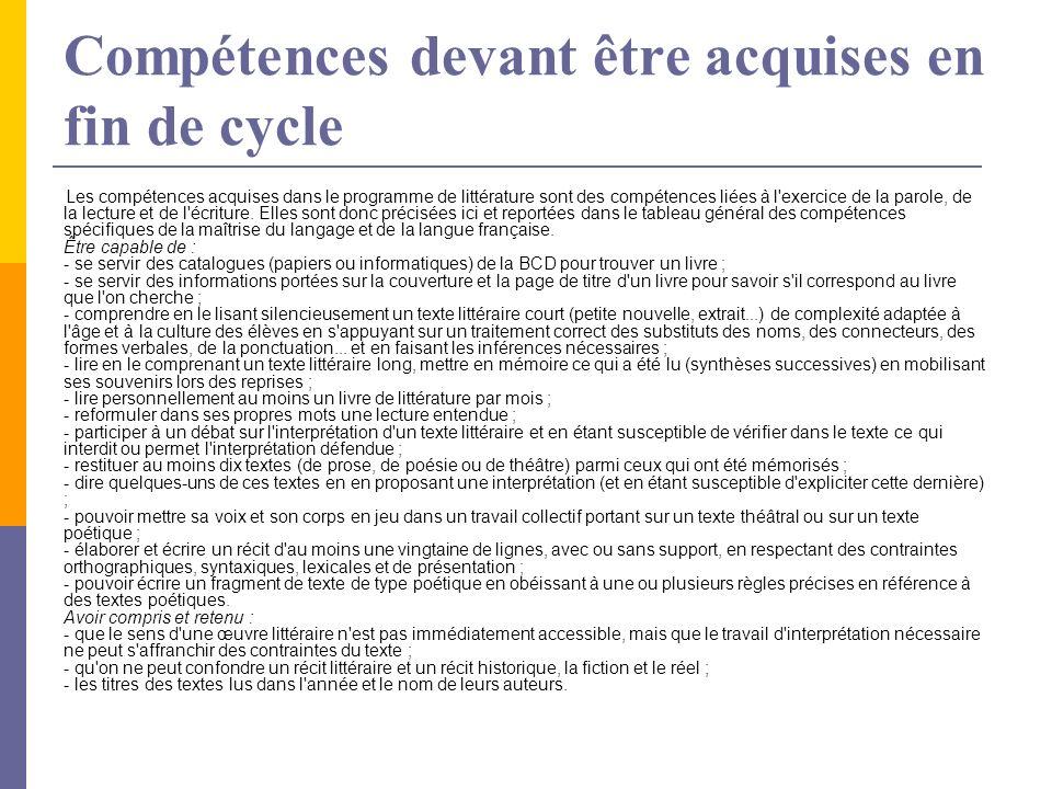 Compétences devant être acquises en fin de cycle Les compétences acquises dans le programme de littérature sont des compétences liées à l'exercice de