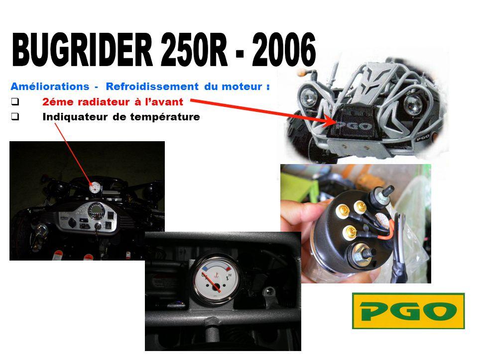 Améliorations - Refroidissement du moteur : 2éme radiateur à lavant Indiquateur de température