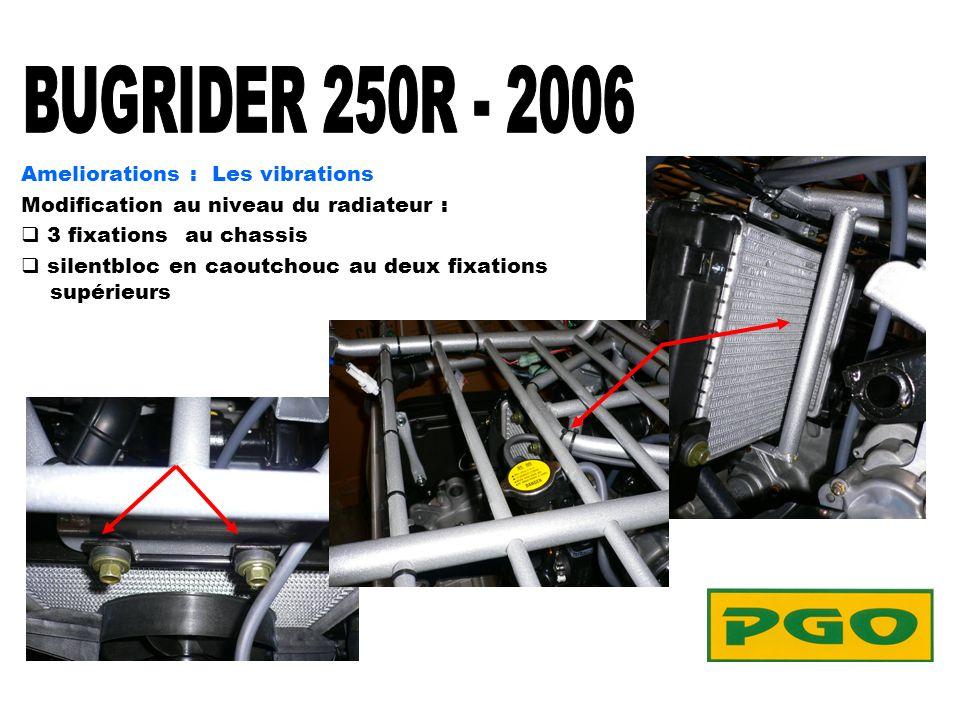Ameliorations : Les vibrations Modification au niveau du radiateur : 3 fixations au chassis silentbloc en caoutchouc au deux fixations supérieurs