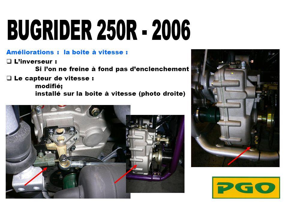 Améliorations : la boite à vitesse : Linverseur : Si lon ne freine à fond pas denclenchement Le capteur de vitesse : modifié; installé sur la boite à vitesse (photo droite)