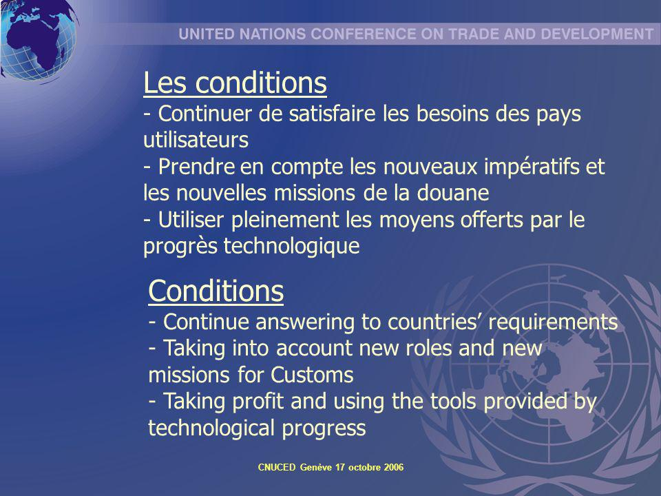 CNUCED Genève 17 octobre 2006 Conditions - Continue answering to countries requirements - Taking into account new roles and new missions for Customs -