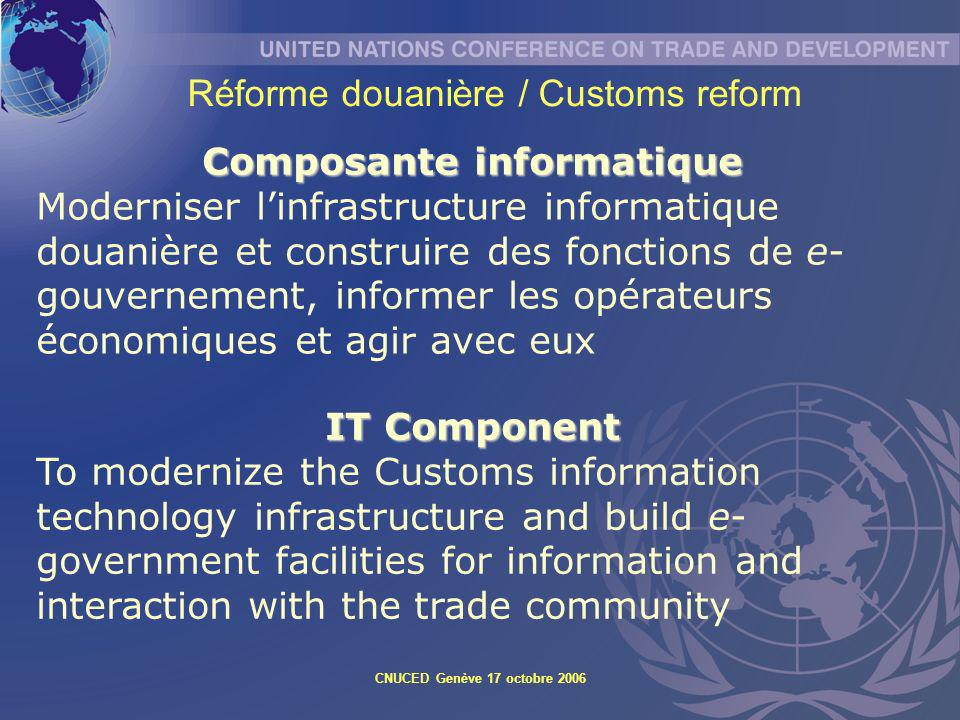 CNUCED Genève 17 octobre 2006 IT Component To modernize the Customs information technology infrastructure and build e- government facilities for infor