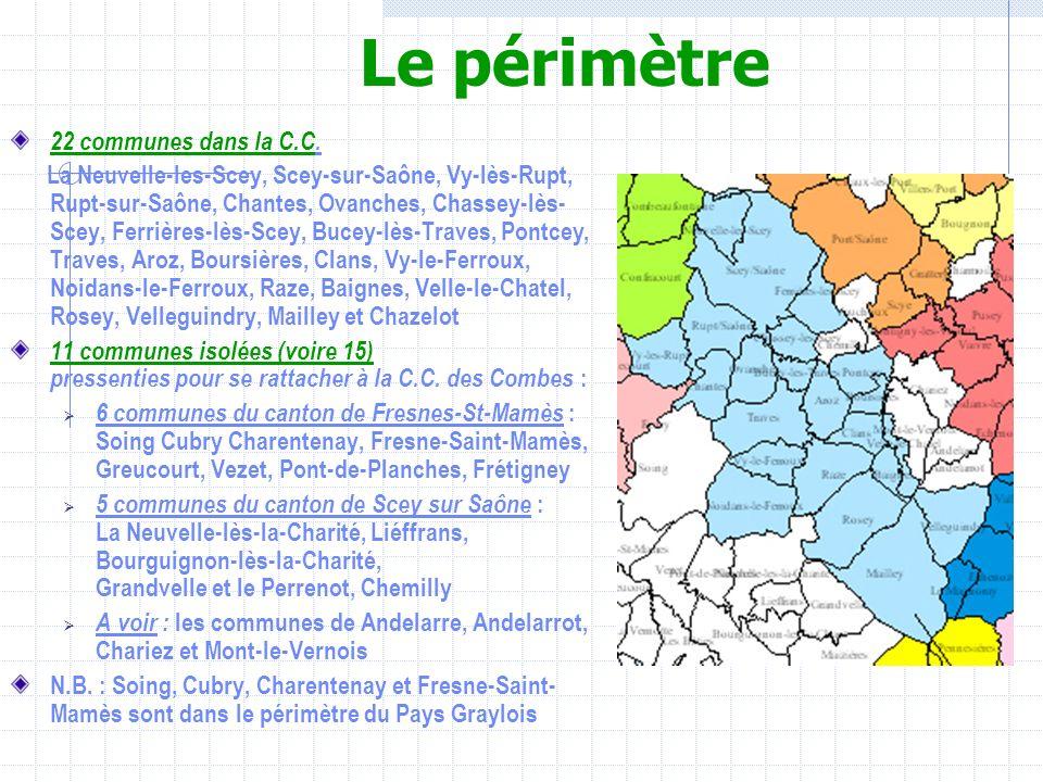 Le périmètre 22 communes dans la C.C. La Neuvelle-les-Scey, Scey-sur-Saône, Vy-lès-Rupt, Rupt-sur-Saône, Chantes, Ovanches, Chassey-lès- Scey, Ferrièr