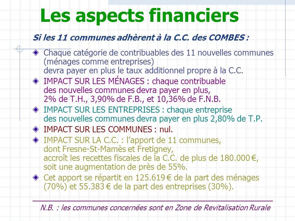Les aspects financiers Si les 11 communes adhèrent à la C.C. des COMBES : Chaque catégorie de contribuables des 11 nouvelles communes (ménages comme e