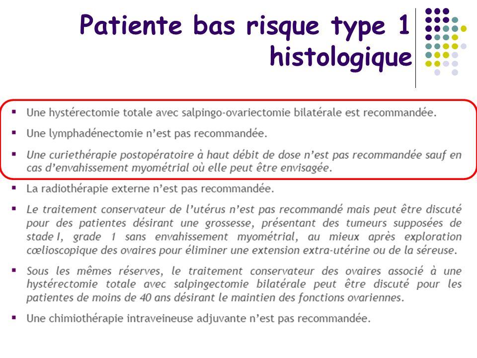 Patiente bas risque type 1 histologique