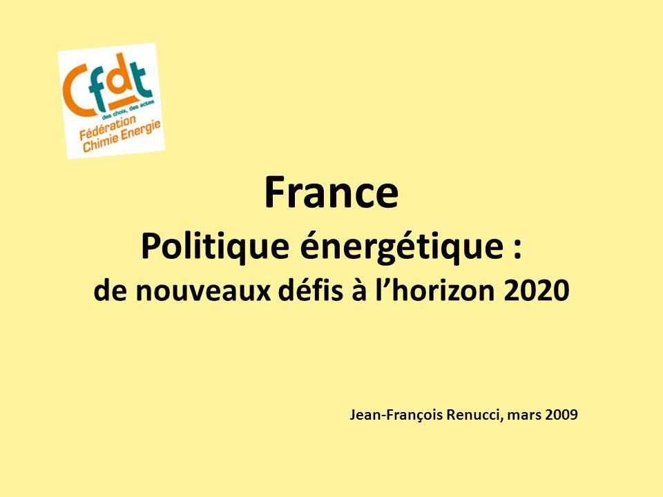 France Politique énergétique : de nouveaux défis à lhorizon 2020 Jean-François Renucci, mars 2009