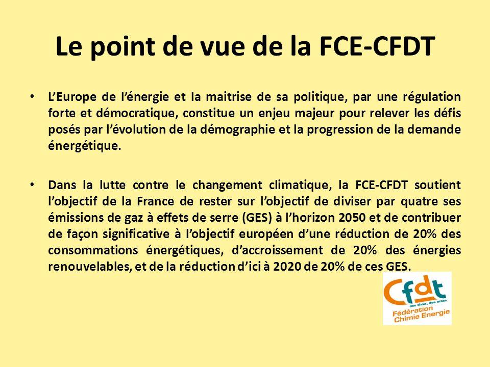 Le point de vue de la FCE-CFDT LEurope de lénergie et la maitrise de sa politique, par une régulation forte et démocratique, constitue un enjeu majeur