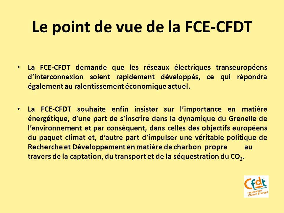 Le point de vue de la FCE-CFDT La FCE-CFDT demande que les réseaux électriques transeuropéens dinterconnexion soient rapidement développés, ce qui rép