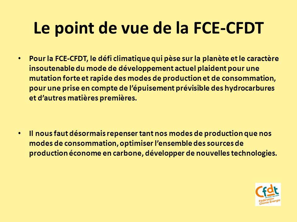 Le point de vue de la FCE-CFDT Pour la FCE-CFDT, le défi climatique qui pèse sur la planète et le caractère insoutenable du mode de développement actu