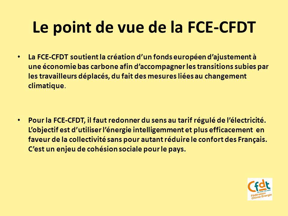 Le point de vue de la FCE-CFDT La FCE-CFDT soutient la création dun fonds européen dajustement à une économie bas carbone afin daccompagner les transi