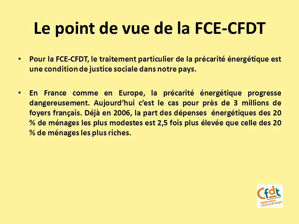 Le point de vue de la FCE-CFDT Pour la FCE-CFDT, le traitement particulier de la précarité énergétique est une condition de justice sociale dans notre