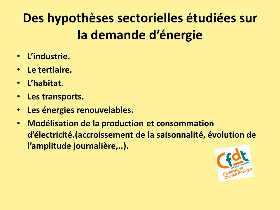 Des hypothèses sectorielles étudiées sur la demande dénergie Lindustrie. Le tertiaire. Lhabitat. Les transports. Les énergies renouvelables. Modélisat