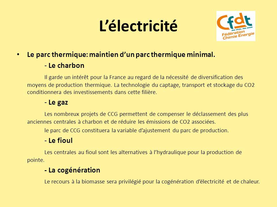 Lélectricité Le parc thermique: maintien dun parc thermique minimal. - Le charbon Il garde un intérêt pour la France au regard de la nécessité de dive