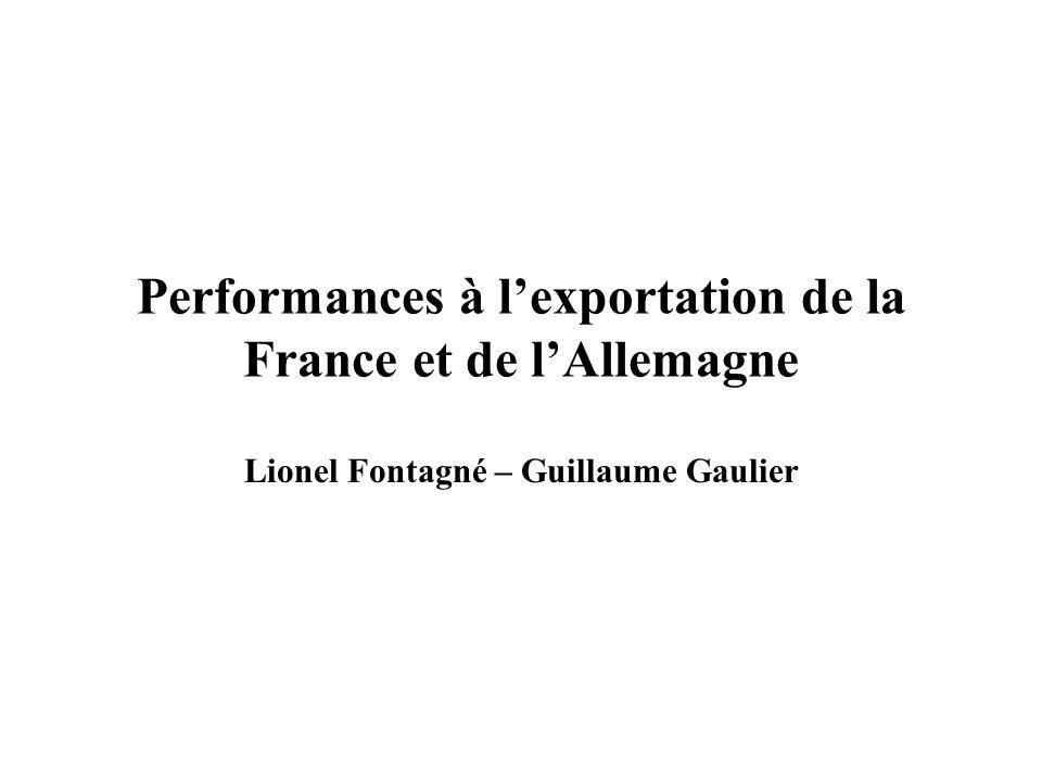 Performances à lexportation de la France et de lAllemagne Lionel Fontagné – Guillaume Gaulier