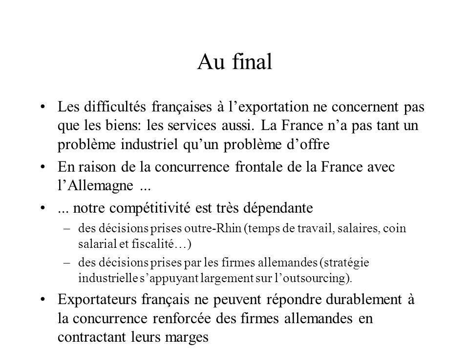 Au final Les difficultés françaises à lexportation ne concernent pas que les biens: les services aussi. La France na pas tant un problème industriel q