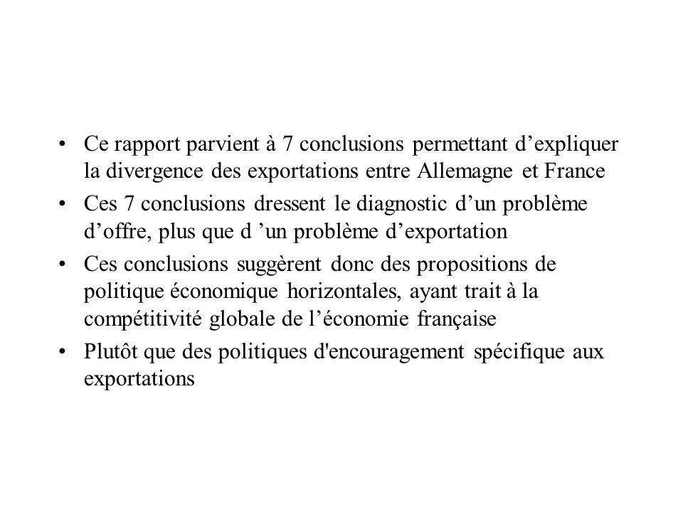 Ce rapport parvient à 7 conclusions permettant dexpliquer la divergence des exportations entre Allemagne et France Ces 7 conclusions dressent le diagn