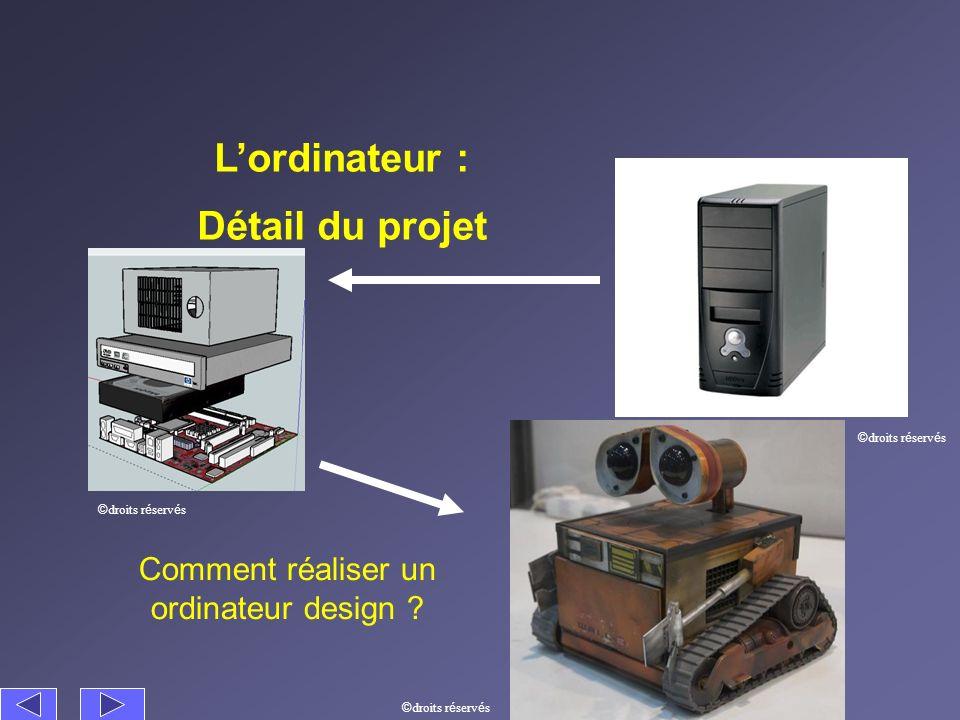 Lordinateur : Détail du projet Comment réaliser un ordinateur design ? © droits r é serv é s
