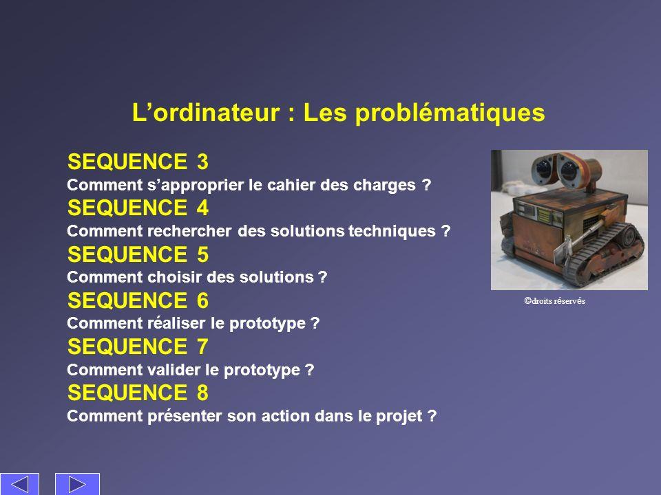 Lordinateur : Les problématiques SEQUENCE 3 Comment sapproprier le cahier des charges ? SEQUENCE 4 Comment rechercher des solutions techniques ? SEQUE