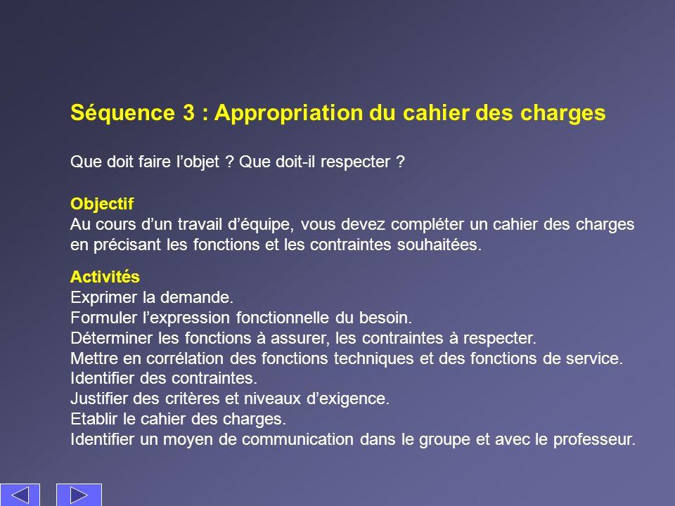 Séquence 3 : Appropriation du cahier des charges Que doit faire lobjet ? Que doit-il respecter ? Activités Exprimer la demande. Formuler lexpression f