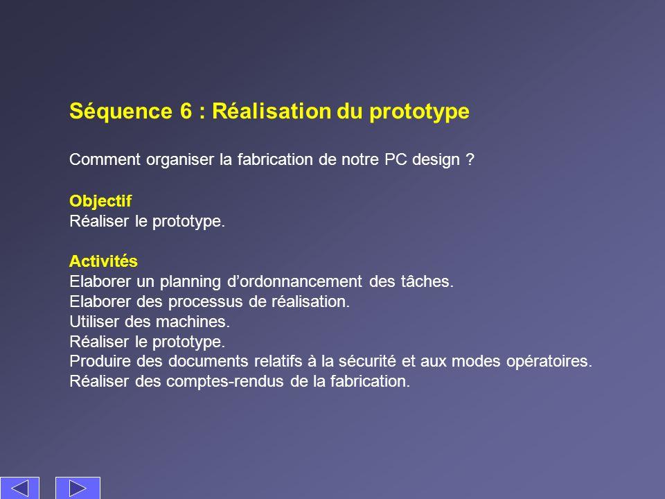 Séquence 6 : Réalisation du prototype Comment organiser la fabrication de notre PC design ? Activités Elaborer un planning dordonnancement des tâches.