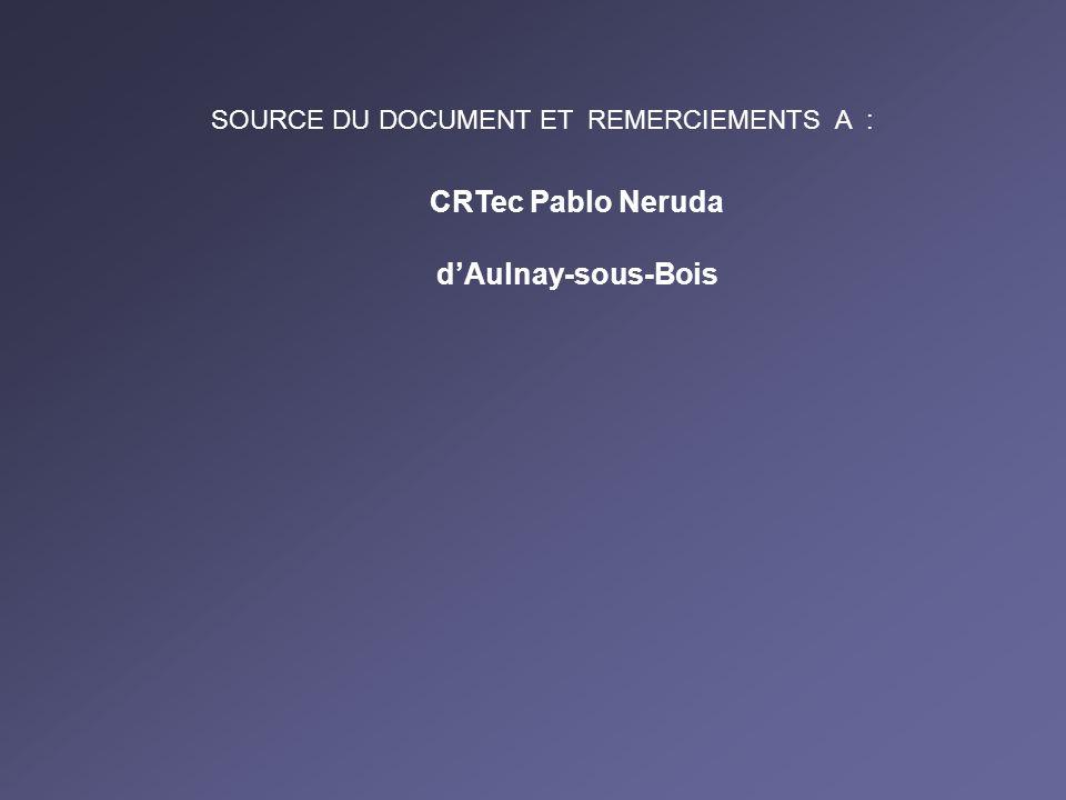 CRTec Pablo Neruda dAulnay-sous-Bois SOURCE DU DOCUMENT ET REMERCIEMENTS A :