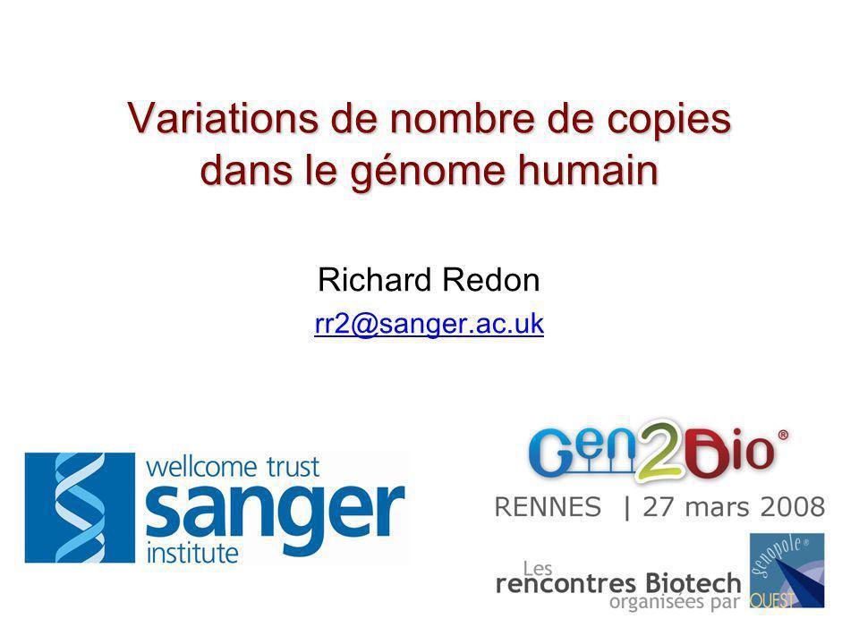 Hybridation Génomique Comparative sur puces à ADN (Array-CGH) ADN testADN de référence Ratio Position de Séquence ADN Cot-1 clones génomiques déposés sur lame de verre Gain dADN Perte dADN