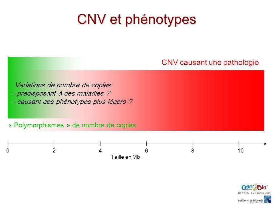0246810 Taille en Mb « Polymorphismes » de nombre de copies Variations de nombre de copies: - prédisposant à des maladies ? - causant des phénotypes p