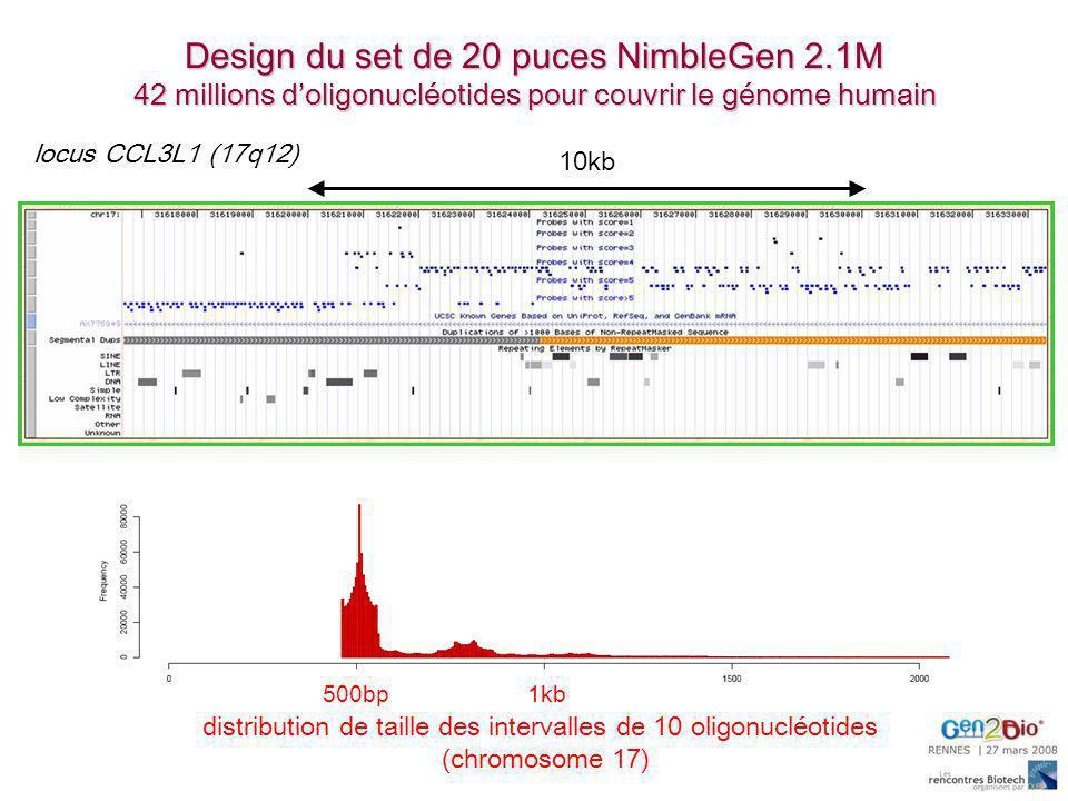 distribution de taille des intervalles de 10 oligonucléotides (chromosome 17) 10kb 500bp1kb locus CCL3L1 (17q12) Design du set de 20 puces NimbleGen 2