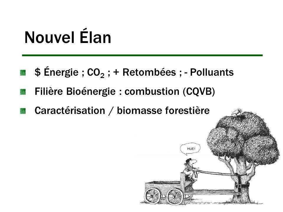 Nouvel Élan $ Énergie ; CO 2 ; + Retombées ; - Polluants Filière Bioénergie : combustion (CQVB) Caractérisation / biomasse forestière