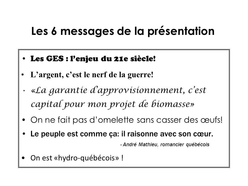 Les 6 messages de la présentation Les GES : lenjeu du 21e siècle! Largent, cest le nerf de la guerre! «La garantie dapprovisionnement, cest capital po