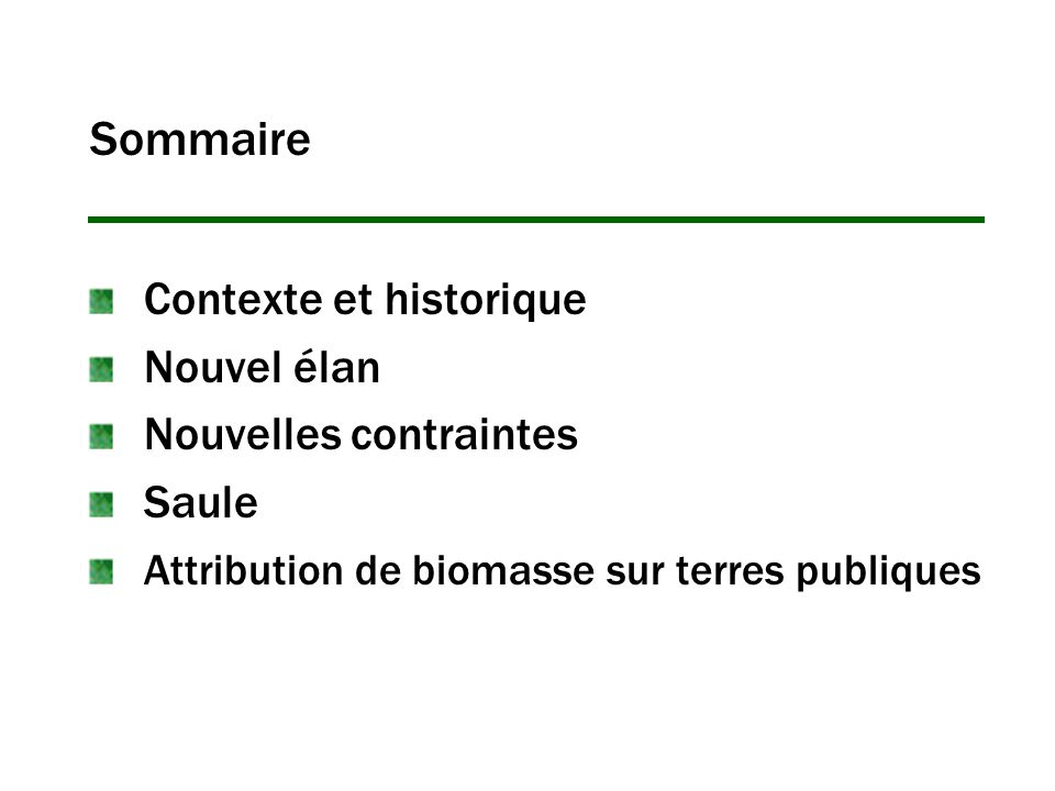 Sommaire Contexte et historique Nouvel élan Nouvelles contraintes Saule Attribution de biomasse sur terres publiques