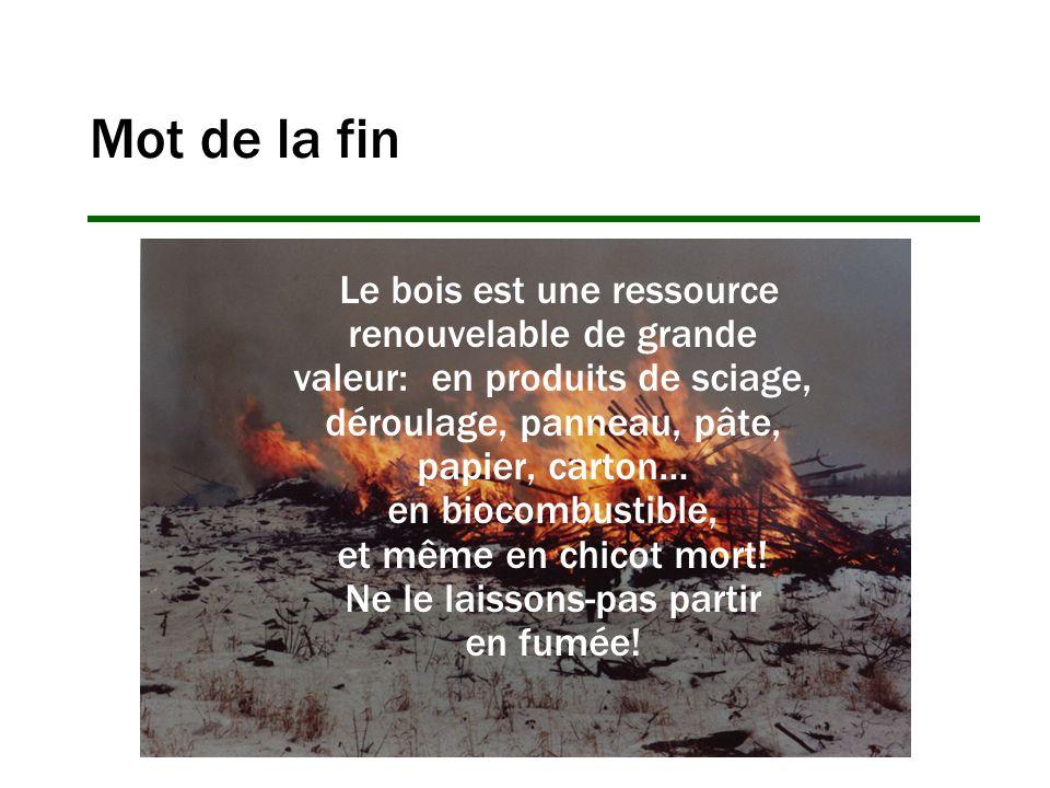 Mot de la fin Le bois est une ressource renouvelable de grande valeur: en produits de sciage, déroulage, panneau, pâte, papier, carton… en biocombusti