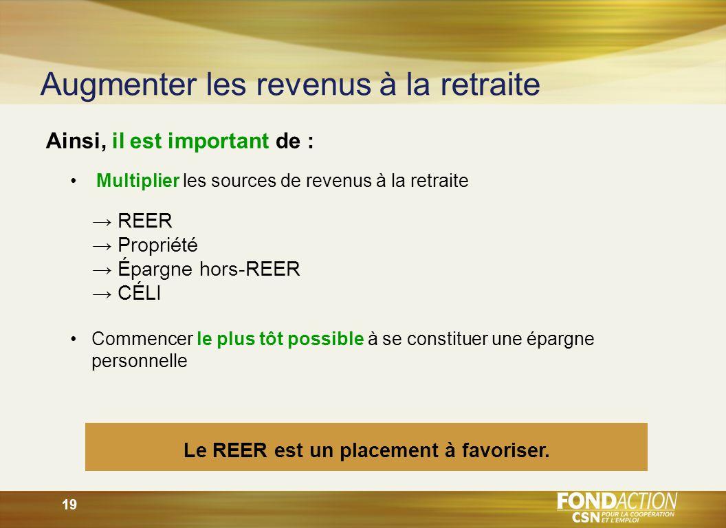 19 Ainsi, il est important de : Le REER est un placement à favoriser.