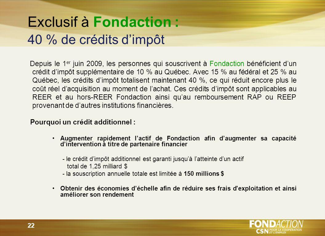 22 Exclusif à Fondaction : 40 % de crédits dimpôt Depuis le 1 er juin 2009, les personnes qui souscrivent à Fondaction bénéficient dun crédit dimpôt supplémentaire de 10 % au Québec.