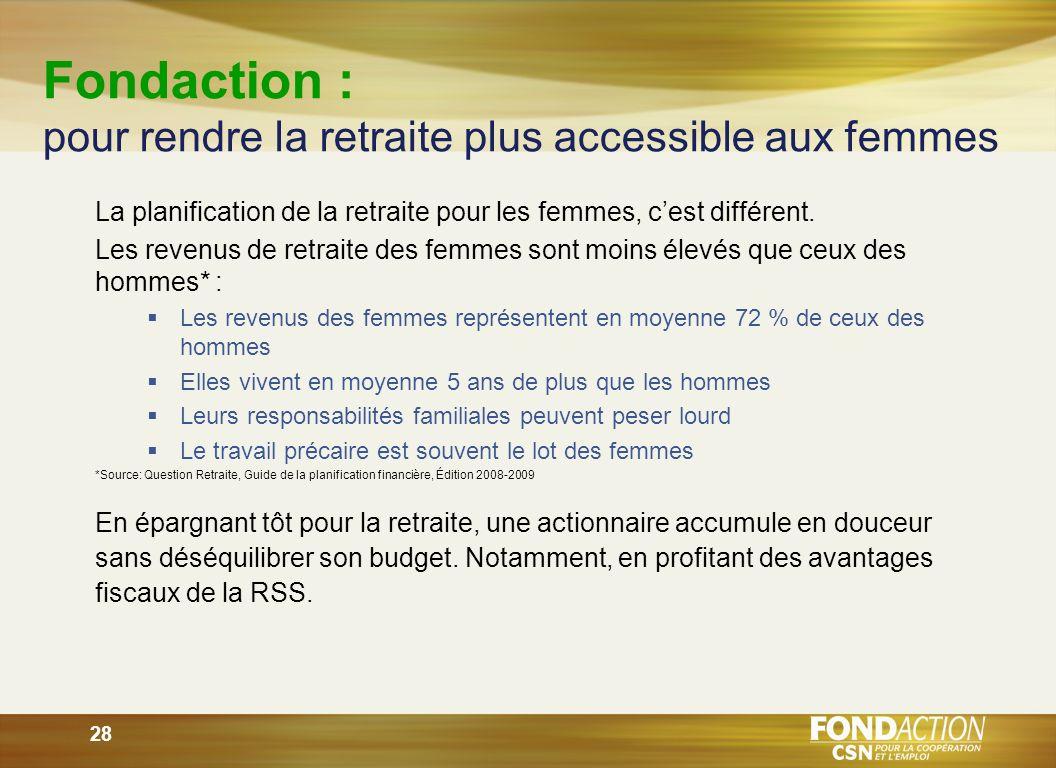 28 Fondaction : pour rendre la retraite plus accessible aux femmes La planification de la retraite pour les femmes, cest différent.