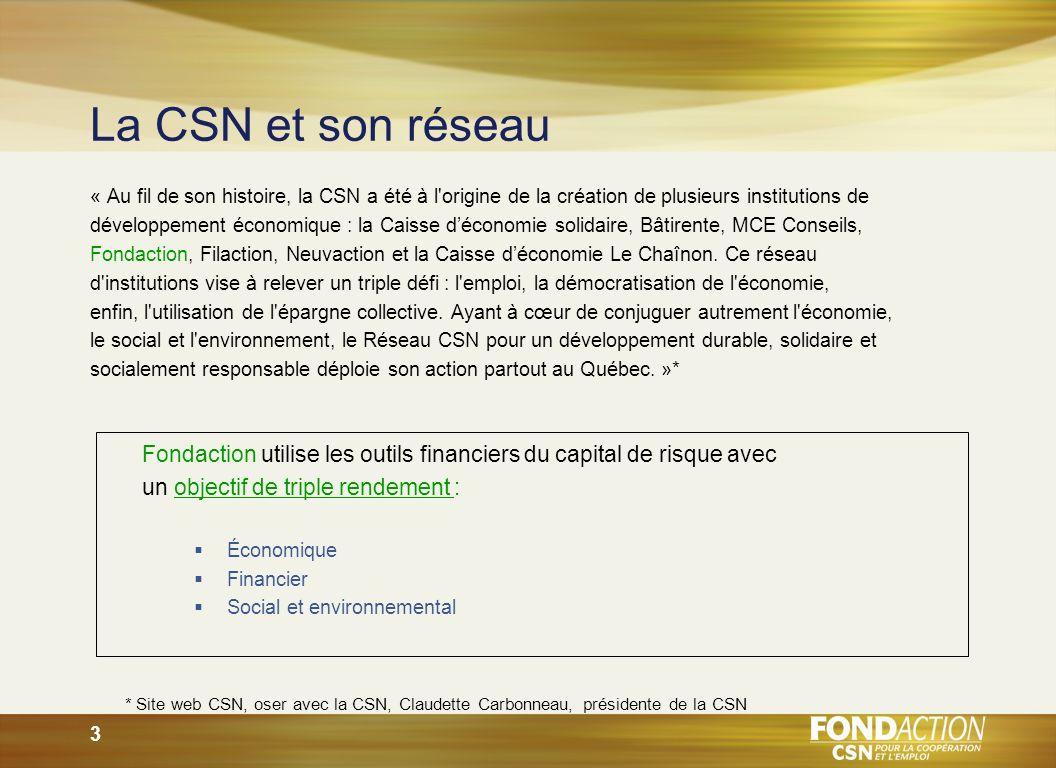 3 La CSN et son réseau « Au fil de son histoire, la CSN a été à l origine de la création de plusieurs institutions de développement économique : la Caisse déconomie solidaire, Bâtirente, MCE Conseils, Fondaction, Filaction, Neuvaction et la Caisse déconomie Le Chaînon.