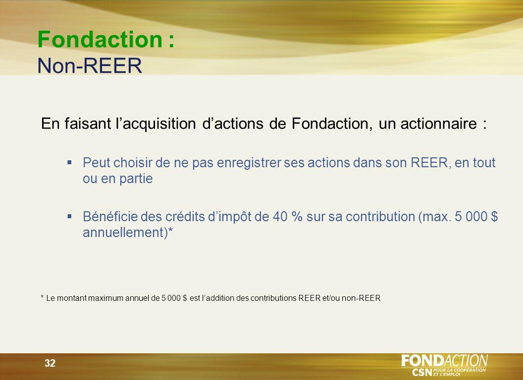 32 Fondaction : Non-REER En faisant lacquisition dactions de Fondaction, un actionnaire : Peut choisir de ne pas enregistrer ses actions dans son REER, en tout ou en partie Bénéficie des crédits dimpôt de 40 % sur sa contribution (max.