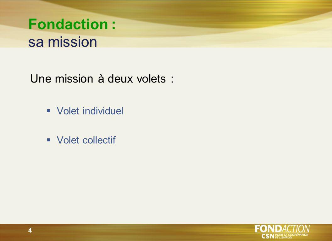 4 Fondaction : sa mission Une mission à deux volets : Volet individuel Volet collectif
