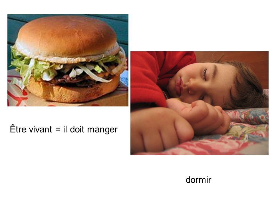 Être vivant = il doit manger dormir