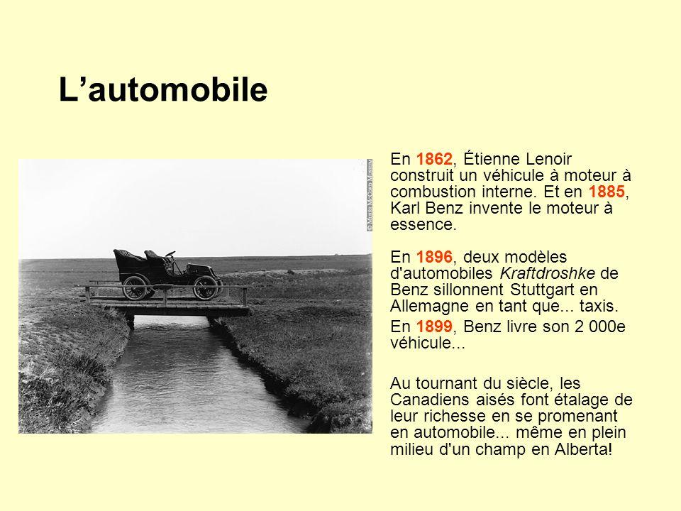 En 1862, Étienne Lenoir construit un véhicule à moteur à combustion interne. Et en 1885, Karl Benz invente le moteur à essence. En 1896, deux modèles