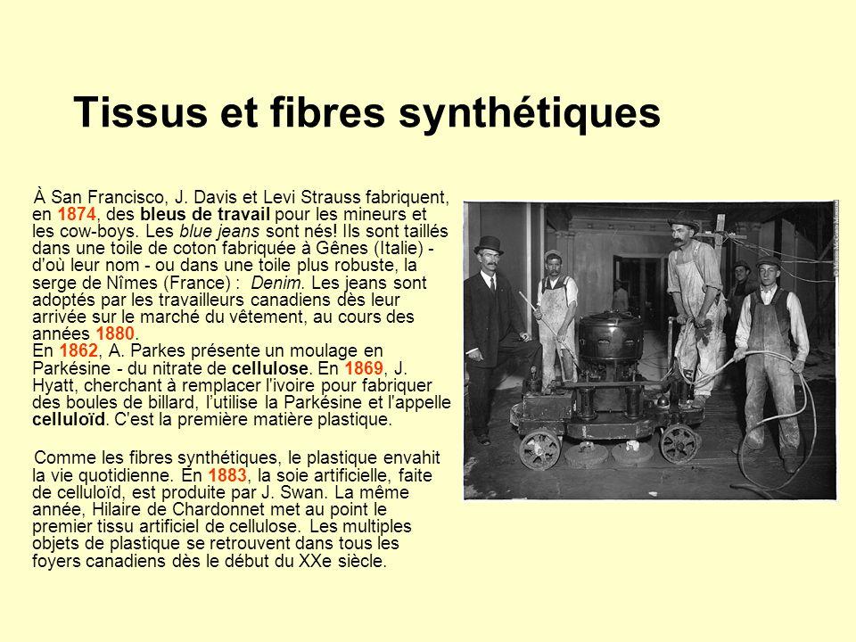 Tissus et fibres synthétiques À San Francisco, J. Davis et Levi Strauss fabriquent, en 1874, des bleus de travail pour les mineurs et les cow-boys. Le