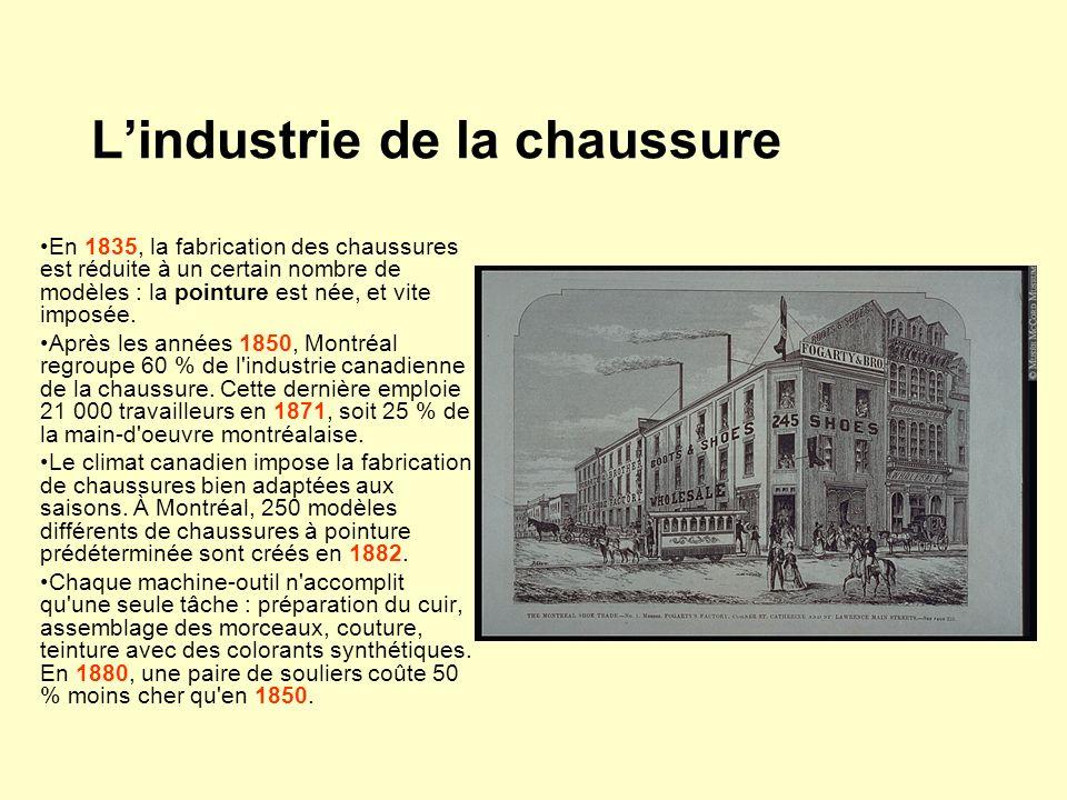 Lindustrie de la chaussure En 1835, la fabrication des chaussures est réduite à un certain nombre de modèles : la pointure est née, et vite imposée. A